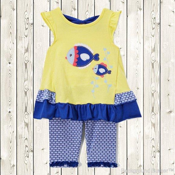 NWT Nannette Rainbow White Ruffle Tunic Shirt Blue Leggings Girls Outfit Set